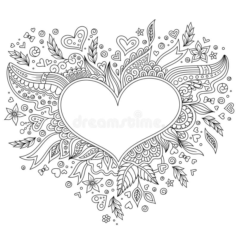 Coloring Page Flower Heart St Valentines Day With Details Isolated On White Background Doodle Zentangle Pattern For Relax And Meditation