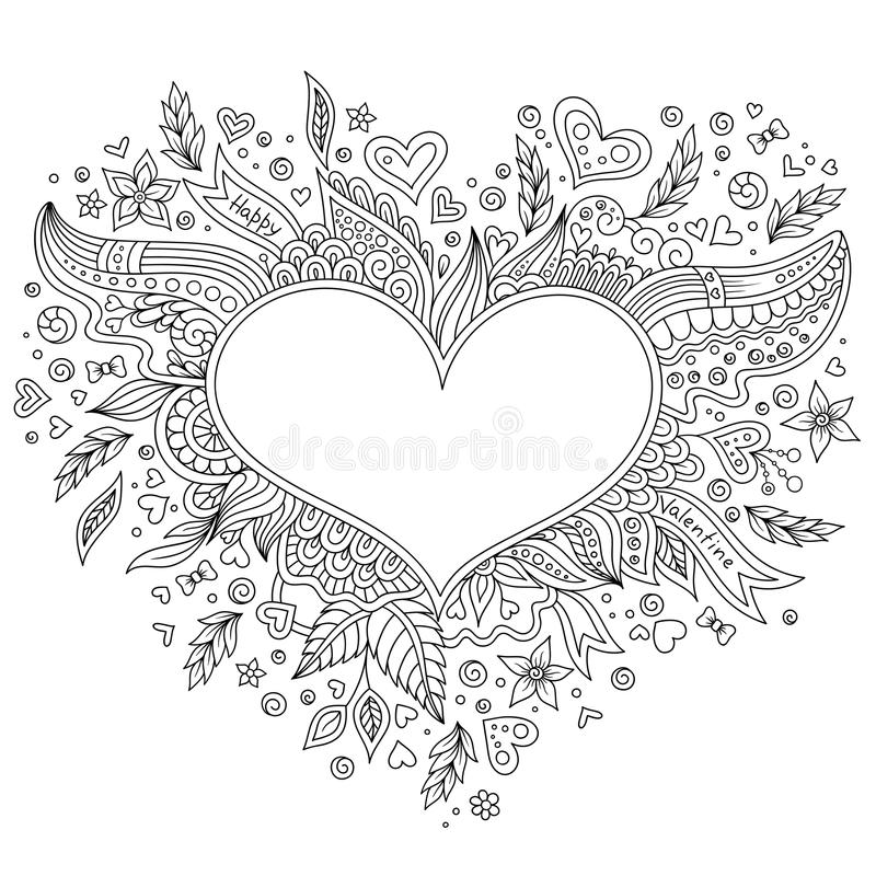 Coloring Page Flower Heart St Valentines Day Stock Vector