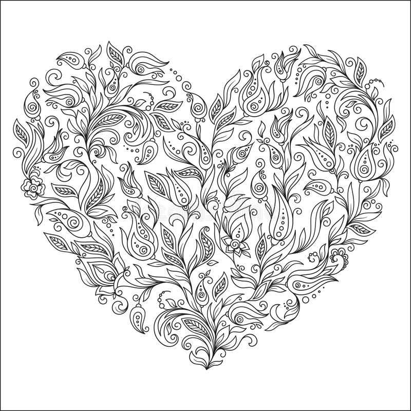 Download Coloring Page Flower Heart St Valentines Day Greeting Card Stock Vector