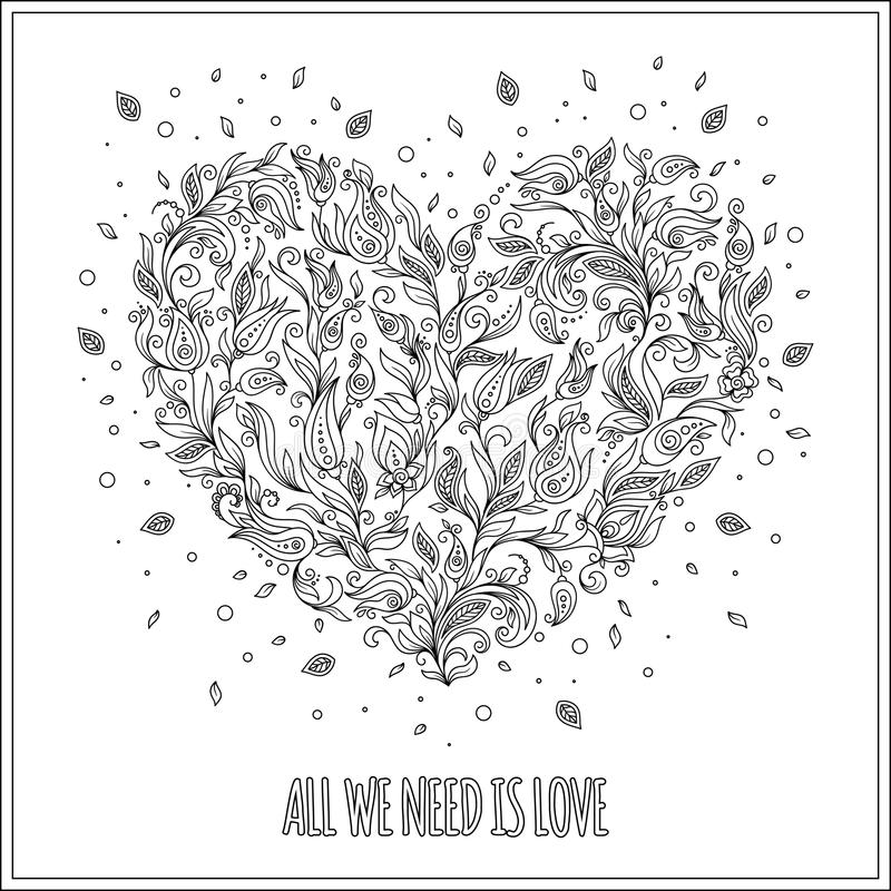 Coloring page flower heart St Valentine's day greeting card royalty free stock images