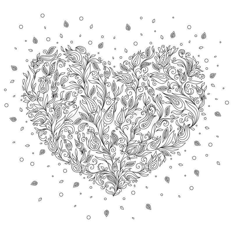 download coloring page flower heart st valentines day greeting card stock image image 64267197