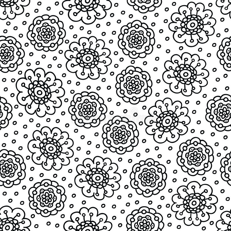 Coloring Page Flower Pattern. Seamless Hand Drawn