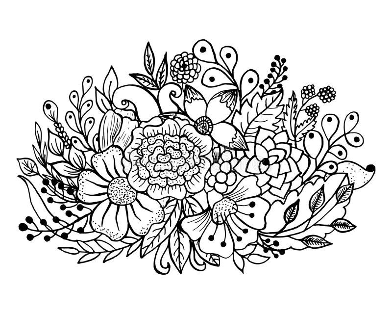 Download Coloring Page With Flowers And Leaves Stock Vector