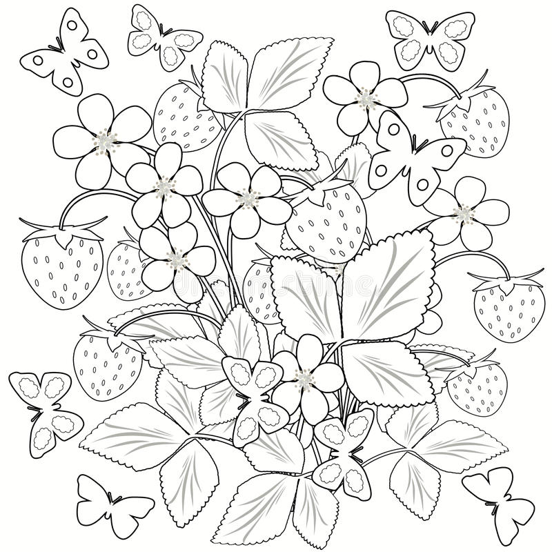 coloring page flowers and strawberry in the vase illustration black