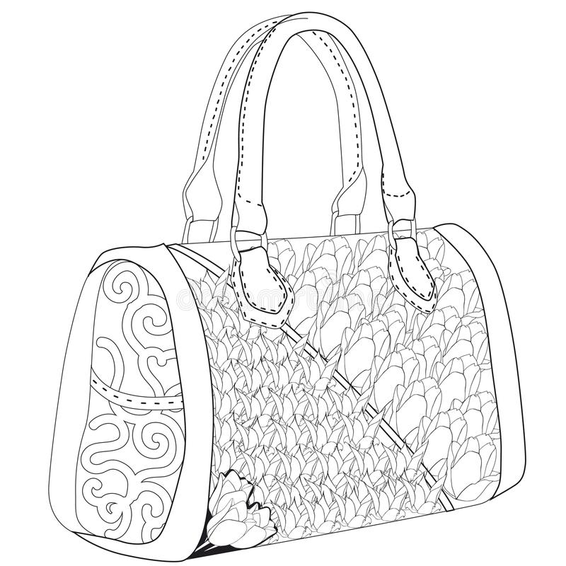 Free Coloring Page For Adults. Bag With Tulip. Stock Photography - 104617582