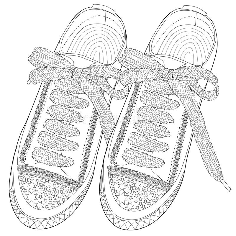 Free Coloring Page For Adults. Sport Shoes . Royalty Free Stock Photos - 102426478