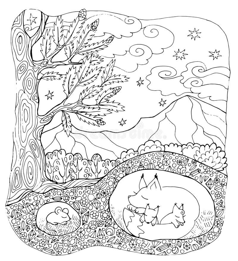 Download Coloring Page Forest Animals Stock Vector