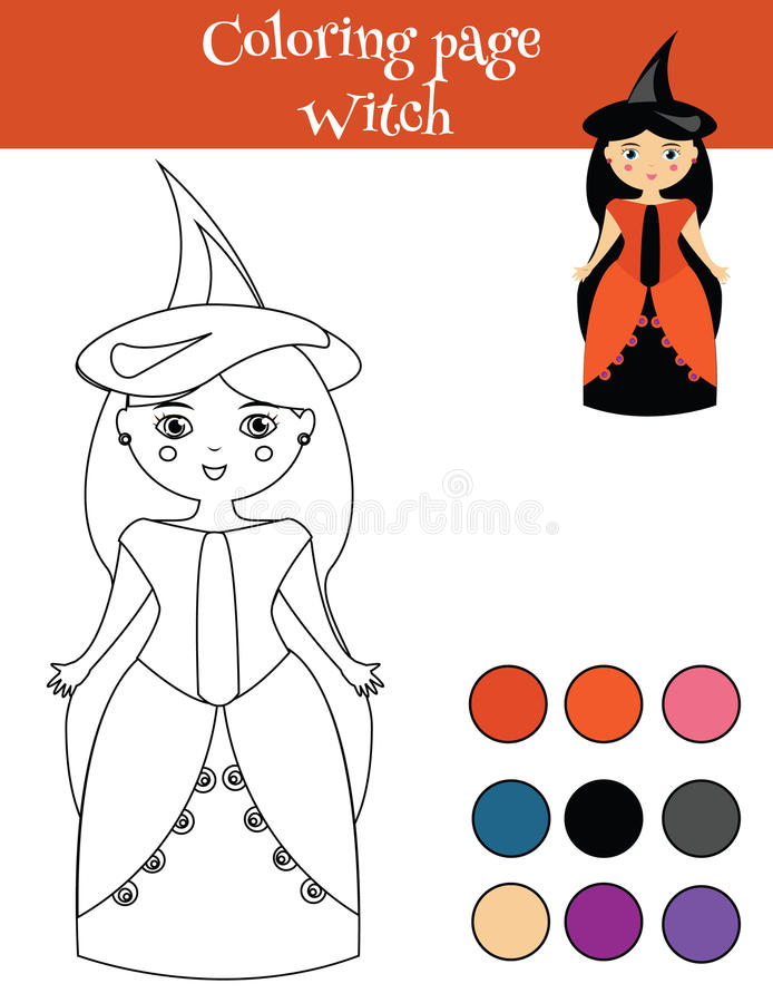 Coloring Page With Girl In Halloween Witch Costume. Educational Game ...