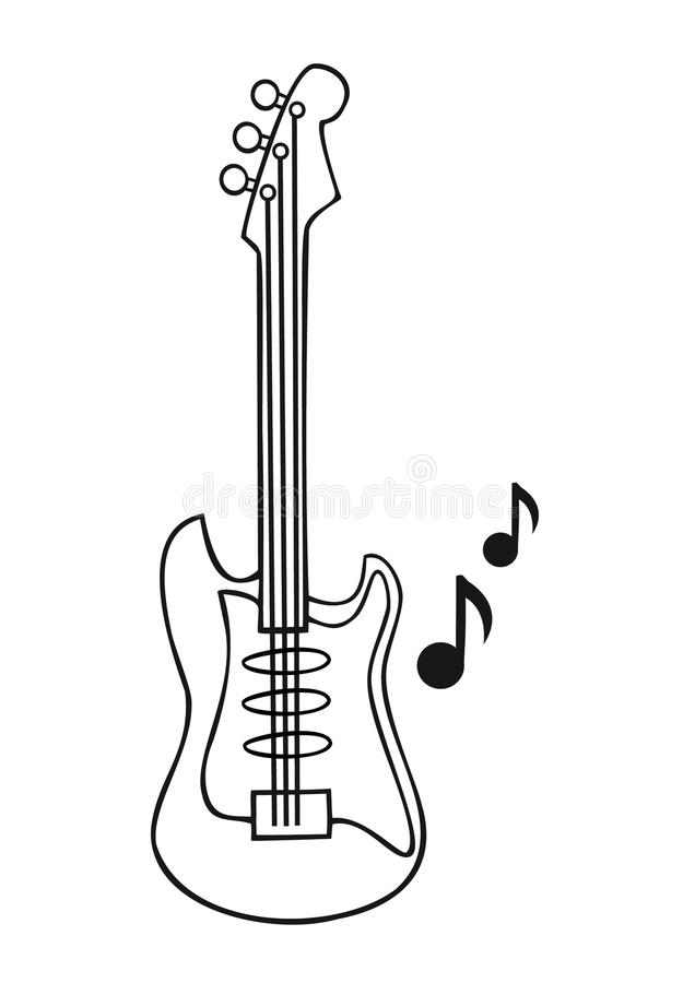Download Coloring PageGuitar Isolated On White Background Vector Illustration Stock