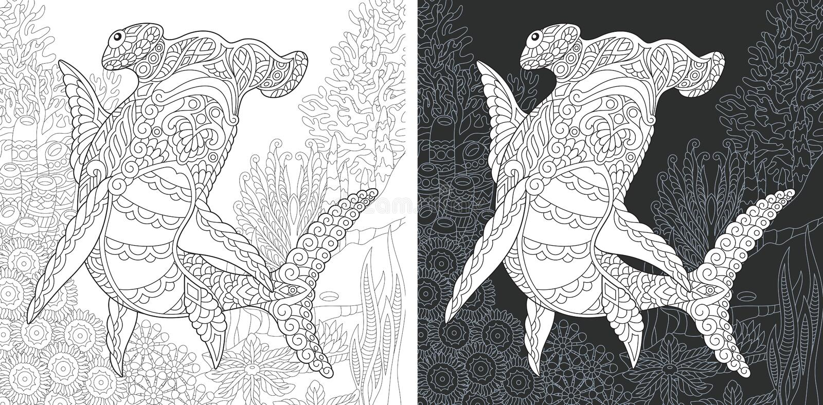 Coloring page with hammer head shark royalty free stock image