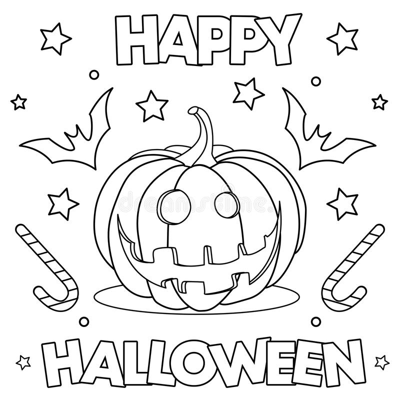 Coloring Page Happy Halloween Stock Vector Illustration Of Fall Child 159658880