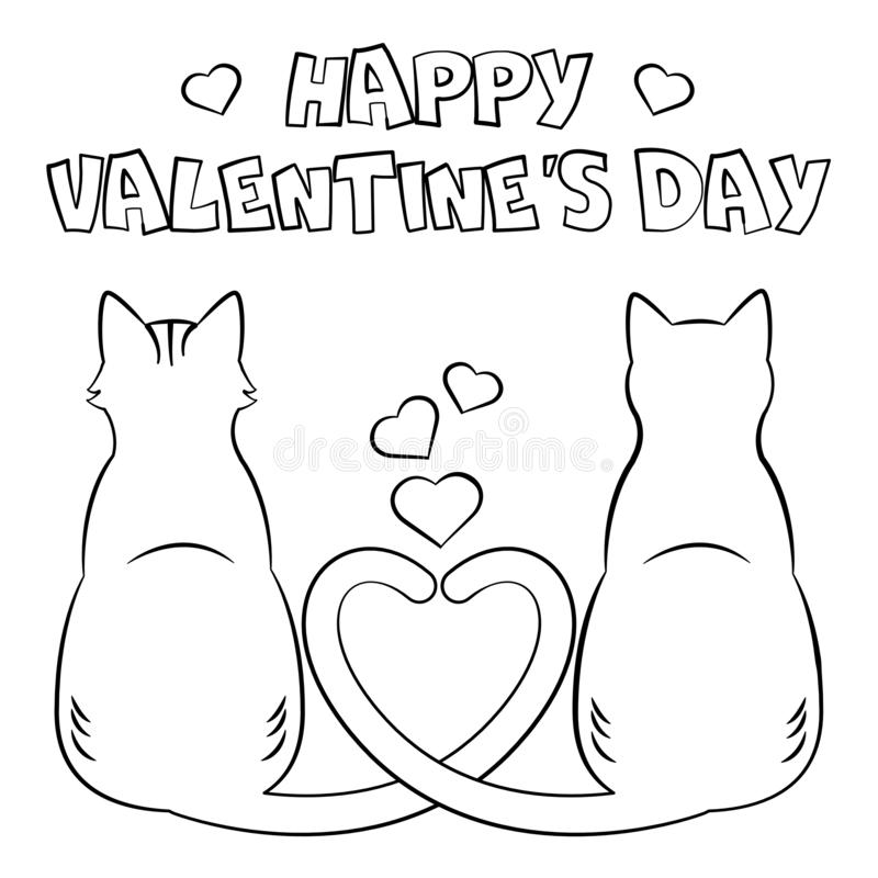 Coloring page `Happy Valentine`s Day`. Coloring page. Happy Valentine`s Day. Two cats with heart tail. Black and white vector illustration stock illustration