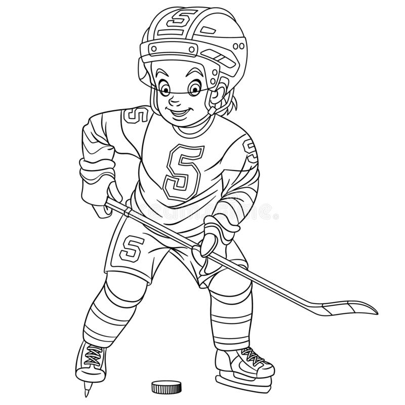 Coloring Page With Hockey Player Stock Vector Illustration Of Comic Fast 158175957