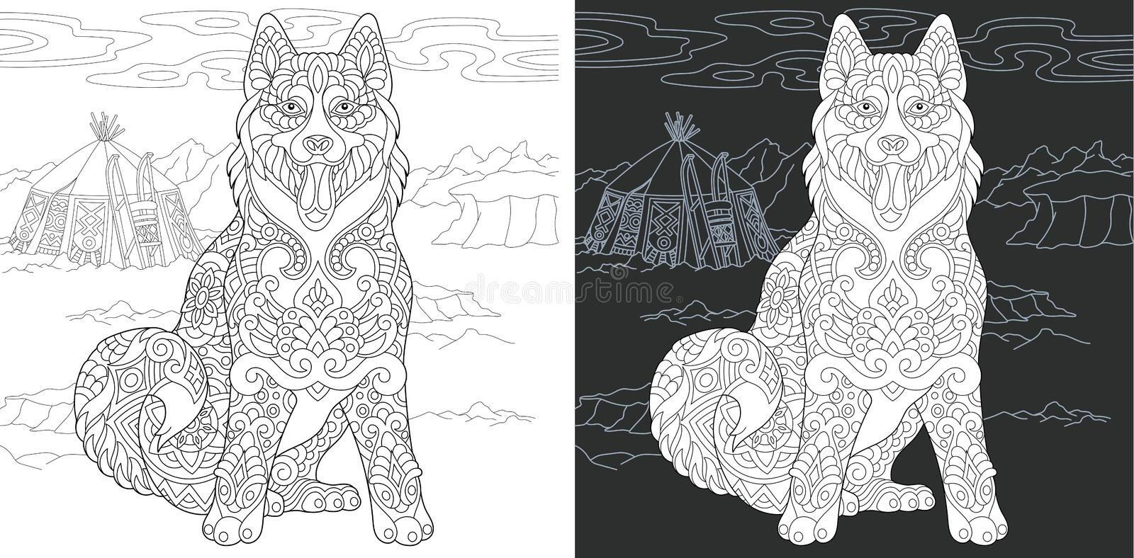 Coloring page with husky dog royalty free stock image