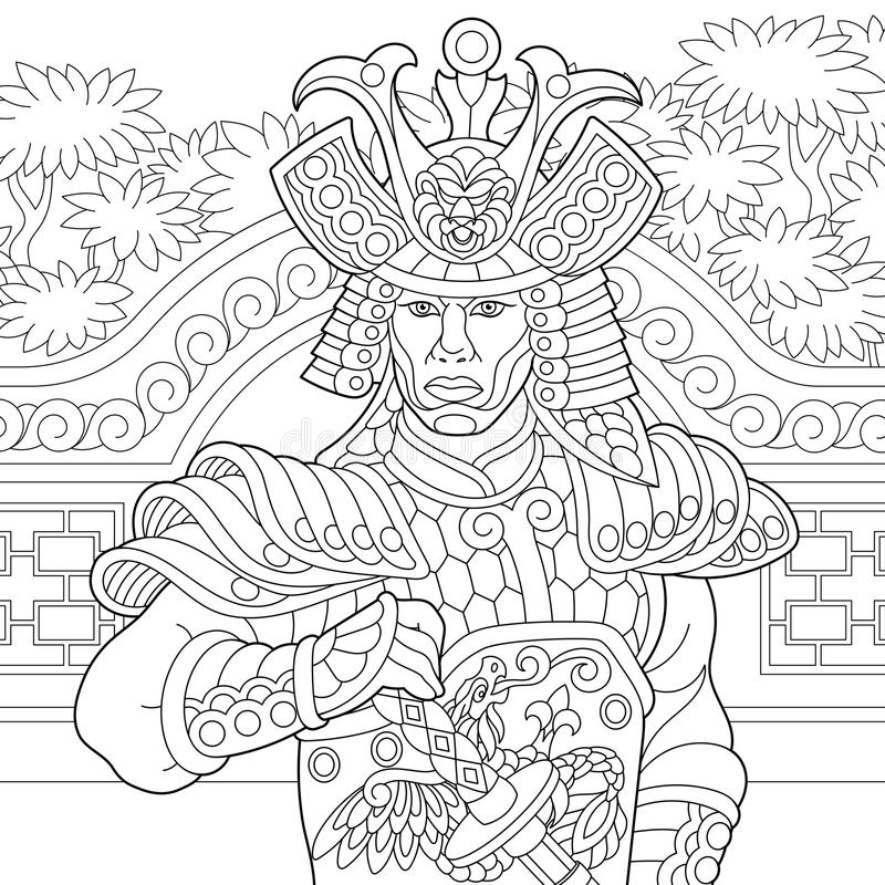 Download Zentangle Stylized Japanese Samurai Stock Vector