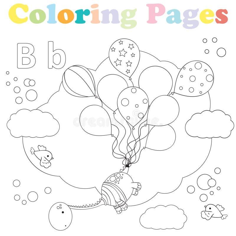 Coloring page for kids,alphabet set,letter B vector illustration