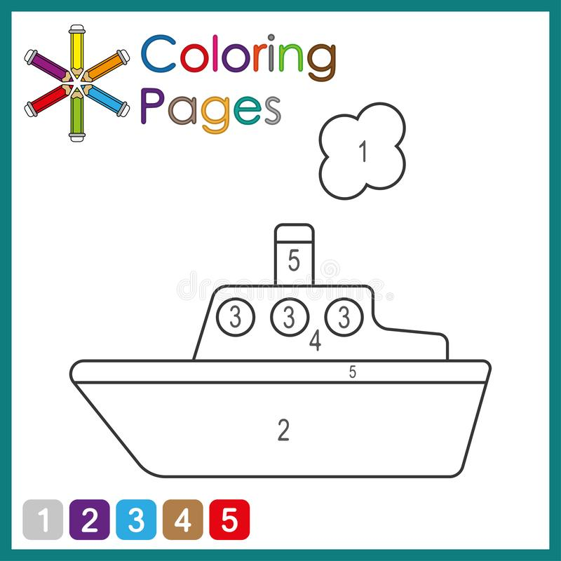 Coloring page for kids, color the parts of the object according to numbers, color by numbers royalty free illustration