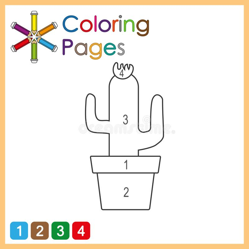 coloring page for kids, color the parts of the object according to numbers, color by numbers vector illustration