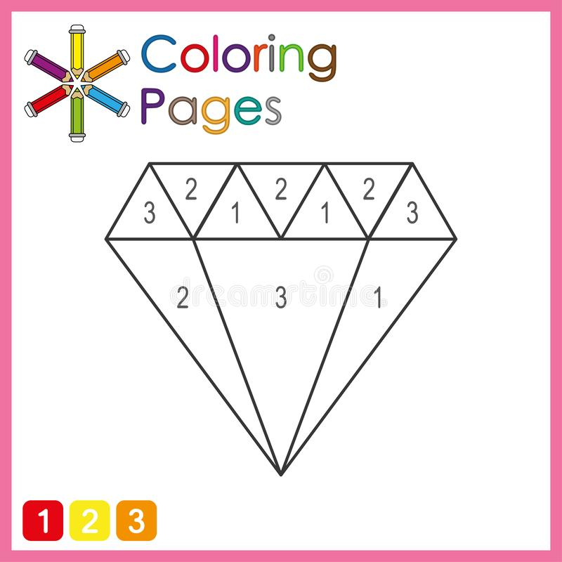 Coloring page for kids, color the parts of the object according to numbers, color by numbers. Activity pages babies background black blank book books cartoon stock illustration