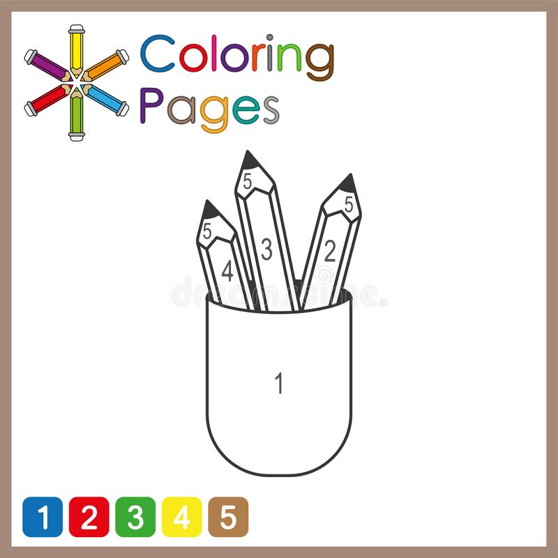 Coloring page for kids, color the parts of the object according to numbers, color by numbers. Activity pages babies background black blank book books cartoon vector illustration