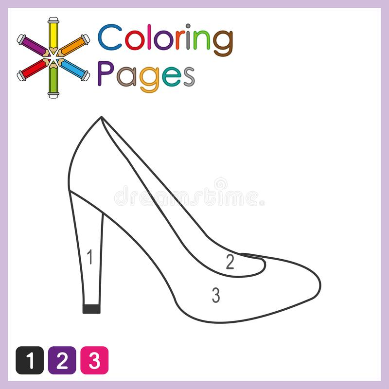 coloring page for kids, color the parts of the object according to numbers, color by numbers stock illustration