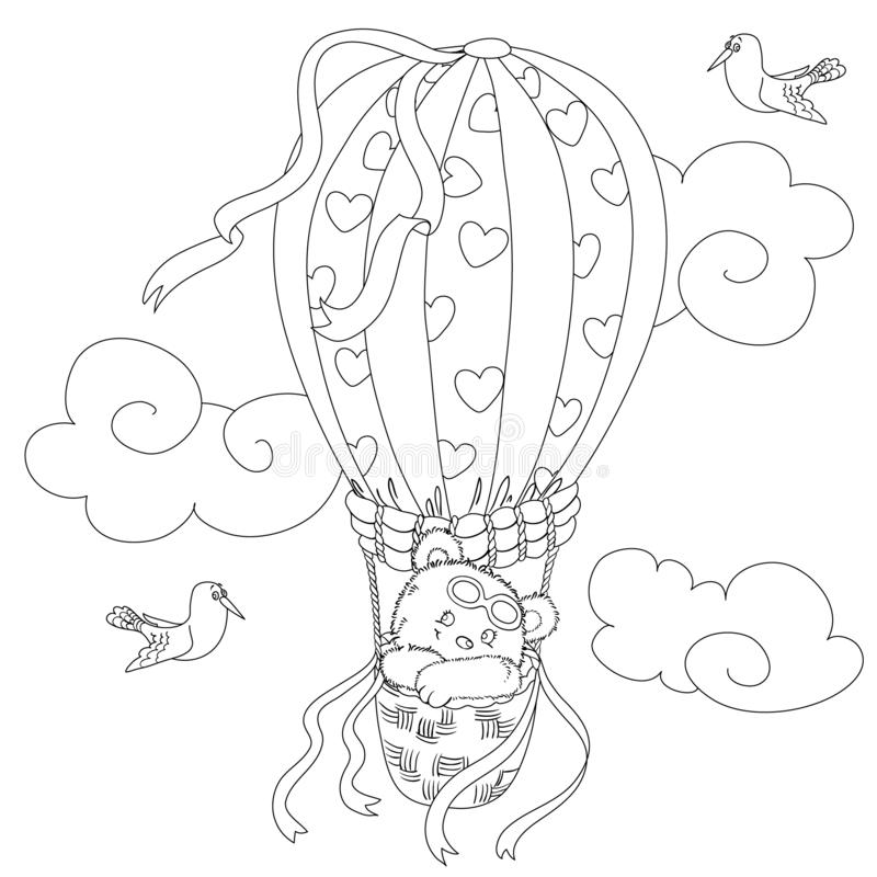 Coloring page for kids with a cute teddy bear flying in a hot air balloon and a funny seagull. vector illustration