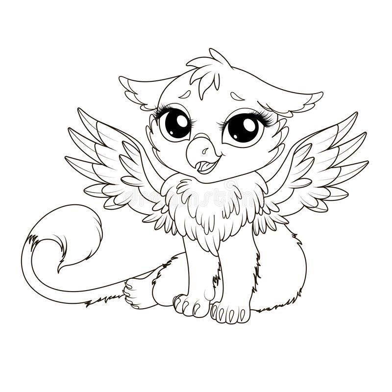 Detailed Cute Baby Logo Template: Cartoon Griffin Stock Vector. Illustration Of Fantasy
