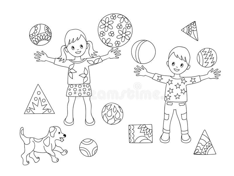 download coloring page kids and puppy stock vector illustration of baby decorating 100543130