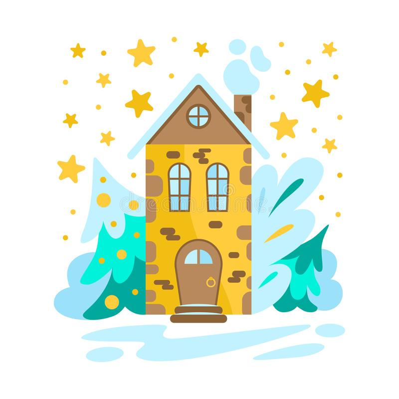 coloring page kids winter house doodle cartoon hand drawing illustration fairytale house winter illustration house vector silhouette linear