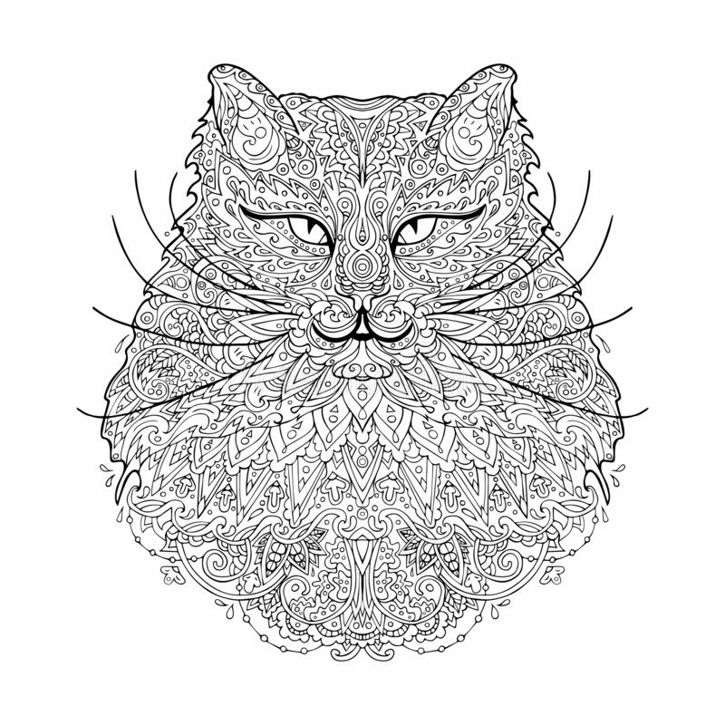 Coloring page kitty in zentangle inspired style. stock images