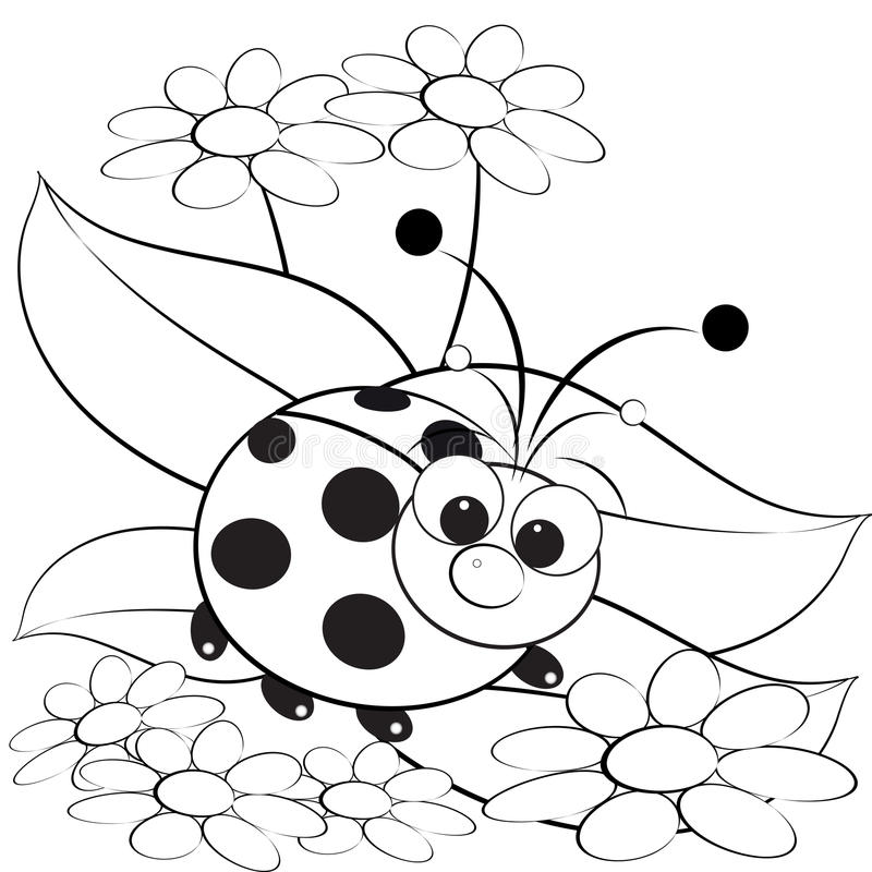 Coloring Page - Ladybug And Daisy Stock Vector ...