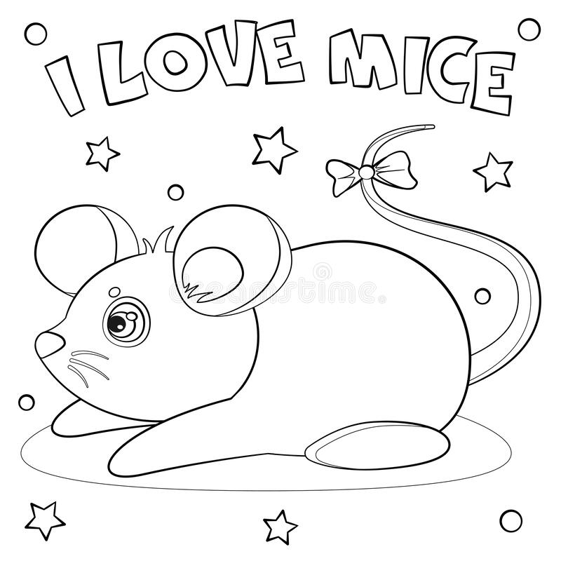 Coloring page `I love mice`. royalty free illustration