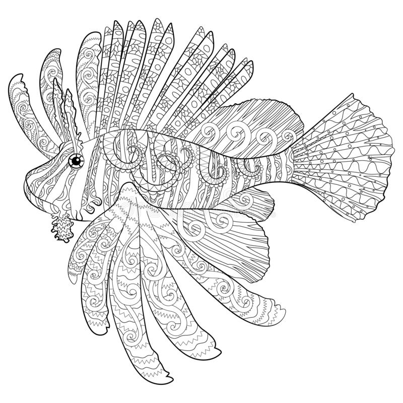Coloring page with lion fish in patterned style. stock illustration