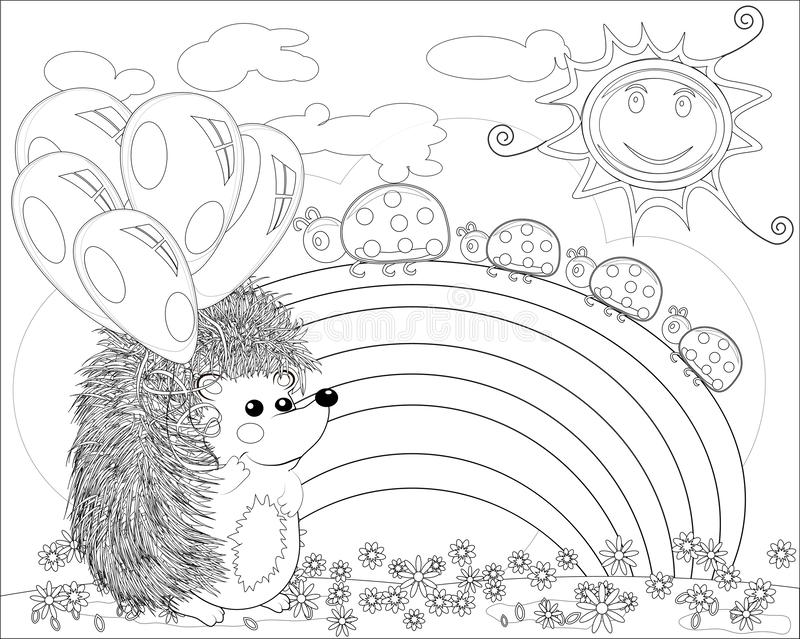 Coloring page with lovely hedgehog in the garden. Coloring book for adult and older children. Outline drawing stock illustration