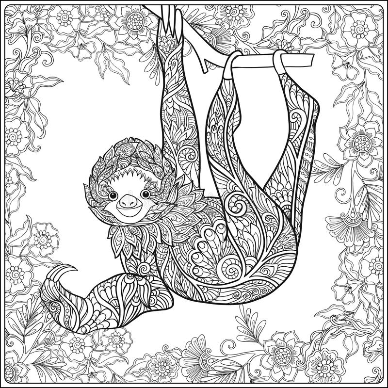 Coloring page with lovely sloth in forest. vector illustration