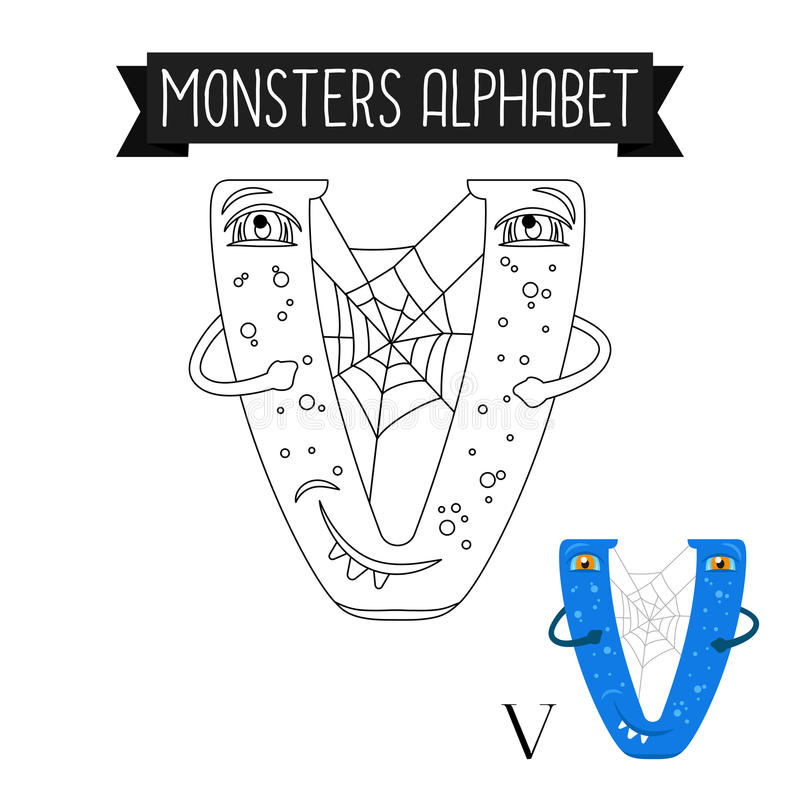 Coloring page monsters alphabet letter V royalty free illustration