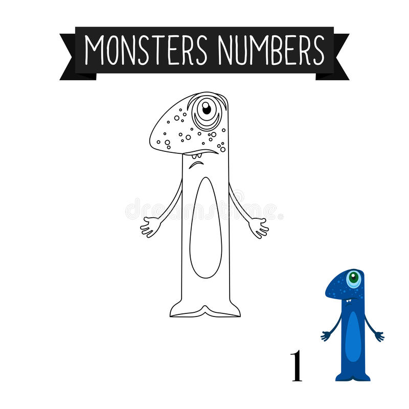Free Coloring Page Monsters Number 1 Stock Photos - 81519333