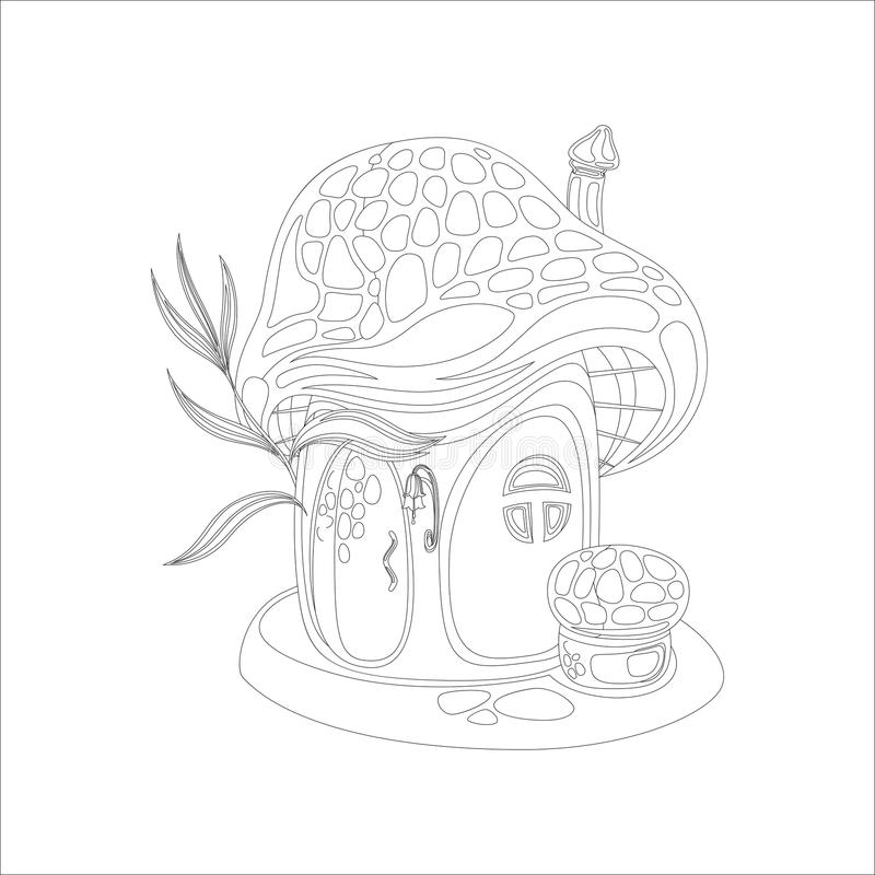 Download Coloring Page With Mushroom House Stock Vector