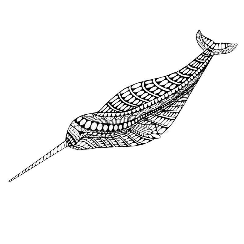Coloring page narwhal. Isolated pattern. Cartoon character of animals decorative element. Vector hands drawing doodle background stock illustration