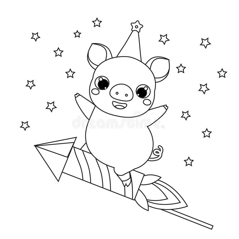 Coloring Page 2019 New Year Theme. Cartoon Pig On Firework ...