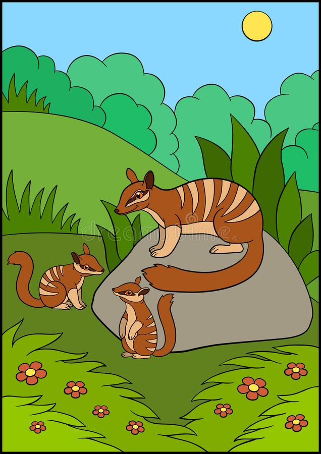 Cartoon animals. Mother numbat with her little cute babies. Cartoon animals. Mother numbat with two her little cute babies stock illustration