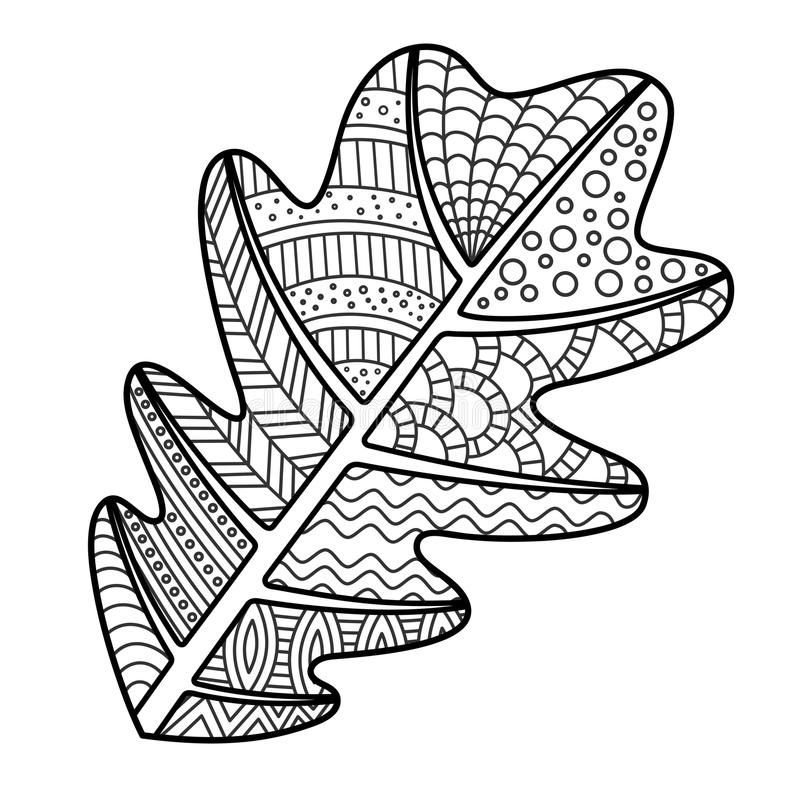 Download Coloring Page Oak Leaf With Decorative Ornament Stock Vector