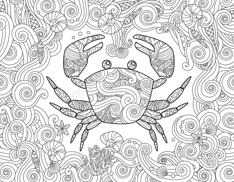 Coloring Page Ornate Crab And Sea Wave Curl Background Stock Vector Illustration Of Decorative Animal 87871590
