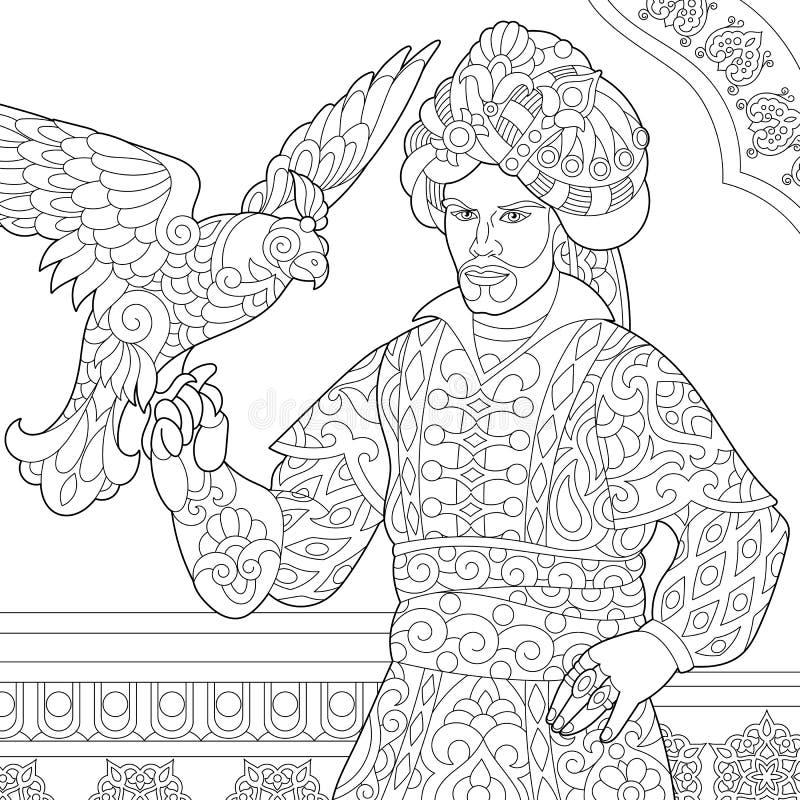 Zentangle stylized ottoman sultan with hawk royalty free illustration