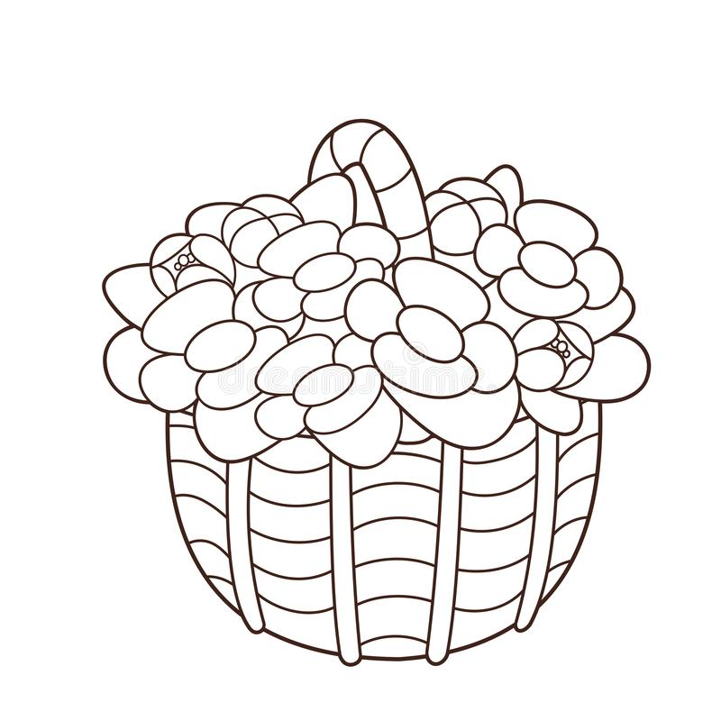 Coloring Page Outline Of basket of flowers. Coloring book for kids vector illustration