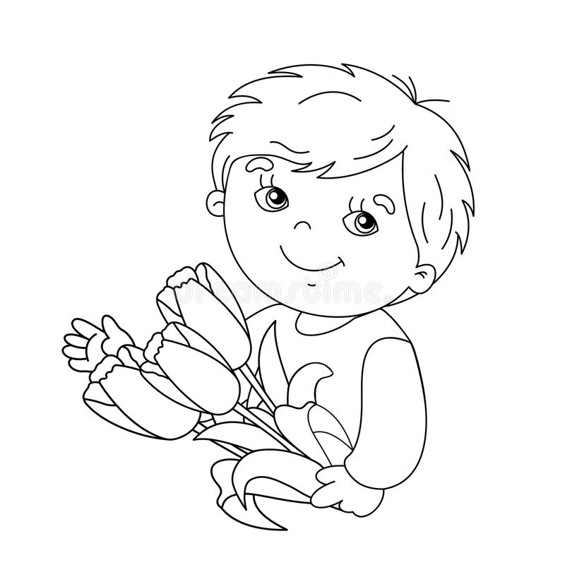 Coloring page outline of boy with bouquet of tulips. In his hand stock illustration