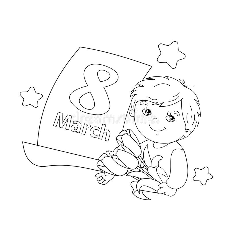 Coloring Page Outline Of Boy With Flowers With Calendar
