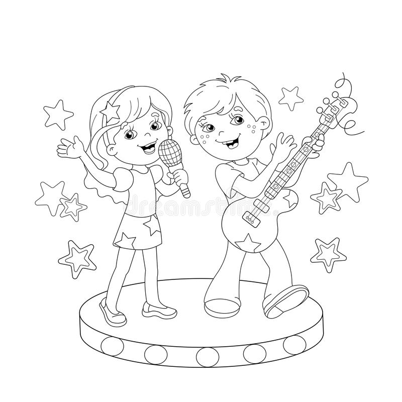 Coloring Page Outline Of Boy And Girl Singing A Song Stock Vector ...