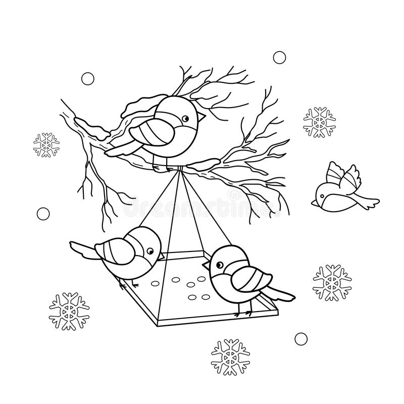 Coloring Page Outline Of Cartoon Birds In The Winter