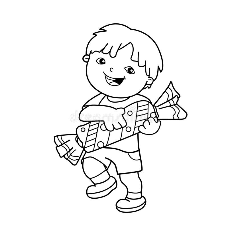 coloring page outline of cartoon boy with with candy coloring book for kids